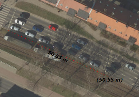 Dlugosc pojazdu w kolejce - hallera